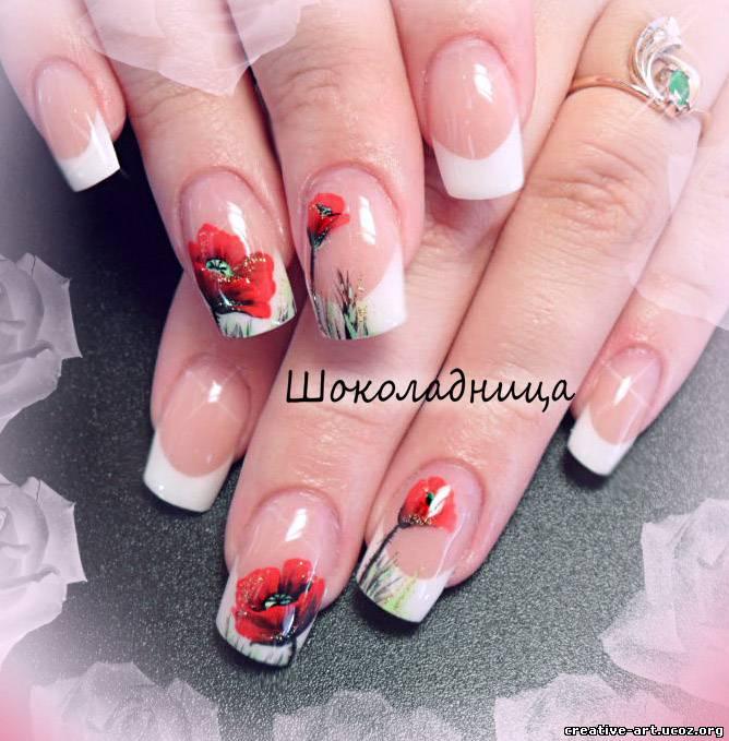 Нарощенный френч на ногтях